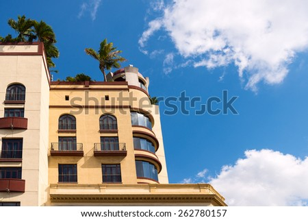 Apartment building with a roof garden - stock photo