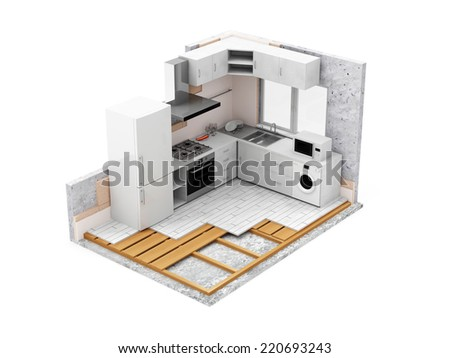Apartment Construction Concept. Kitchen Room Under Construction isolated on white background - stock photo