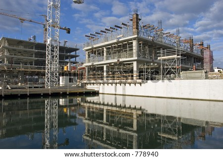 Apartment construction in Aucklands Viaduct Basin - stock photo
