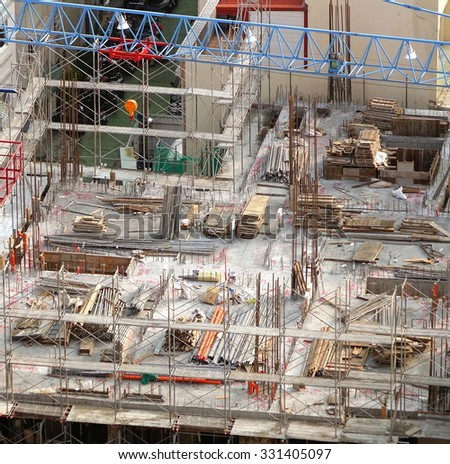 Apartment construction site in a densely populated neighborhood - stock photo
