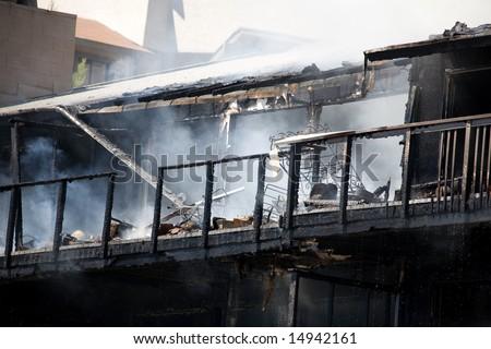 apartment fire - stock photo