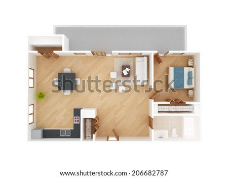 Apartment floor plan top view isolated on white - stock photo