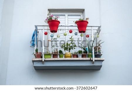apartment house balcony in Tel Aviv city, Israel - stock photo