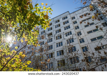 Apartment house in Pripyat town, Chernobyl Nuclear Power Plant Zone of Alienation, Ukraine - stock photo