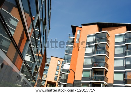 Apartment houses in Finland - stock photo
