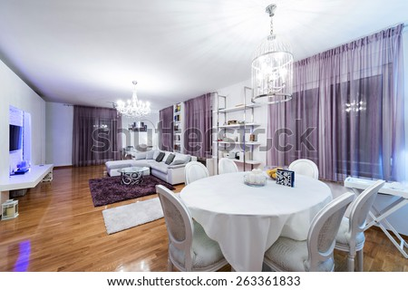 Apartment interior-dining and living room - stock photo