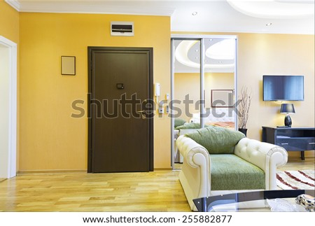 Apartment interior - entrance door - stock photo