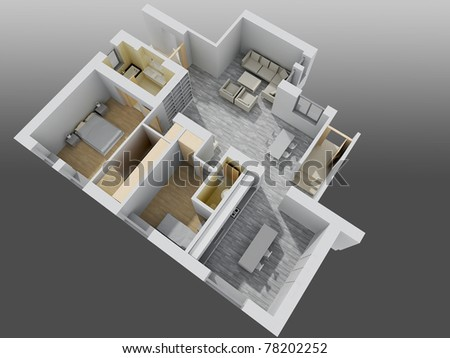 apartment interior.perspective view - stock photo