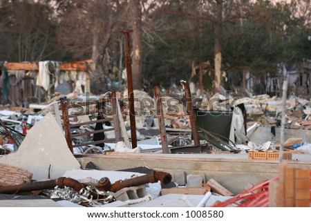 Apartment leveled after Hurricane Katrina. - stock photo