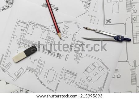 Apartment Plan - Blueprints - stock photo