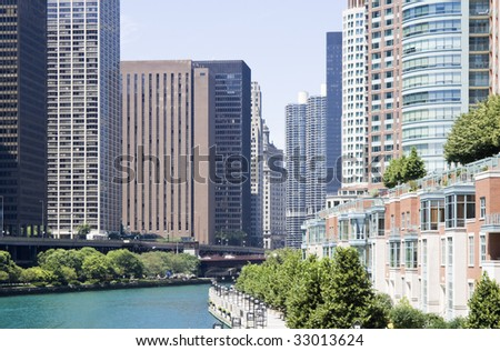 Apartments along Chicago River - seen summer time. - stock photo