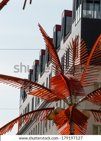 apartments in a residential building in the city. - stock photo