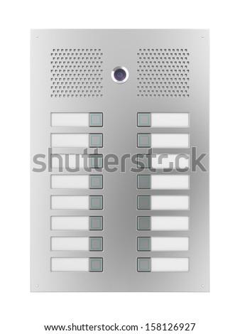 Apartments intercom with camera and empty nameplates - stock photo
