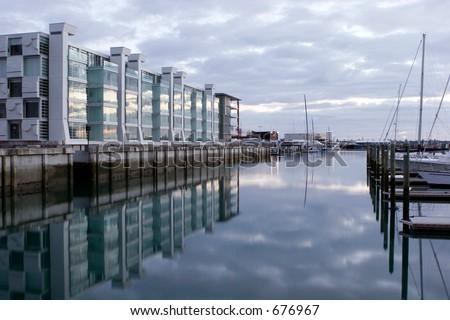 Apartments on Viaduct basin Auckland at Sunrise - stock photo