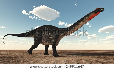 Apatosaurus dinosaur standing in the desert - 3D render - stock photo