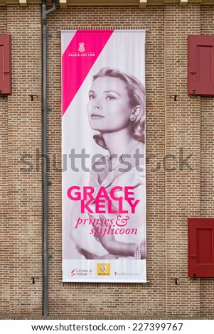 Apeldoorn, Netherlands - October 31, 2014: banner stating Grace Kelly exhibition at Het Loo Palace in Apeldoorn. - stock photo