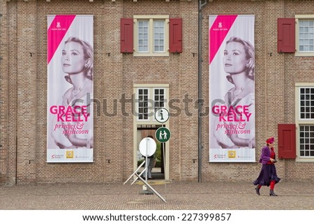Apeldoorn, Netherlands - October 31, 2014: exhibition about Grace Kelly at Het Loo Palace in Apeldoorn. - stock photo