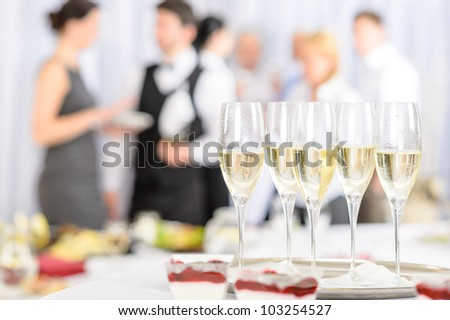 Aperitif champagne for business meeting conference participants - stock photo