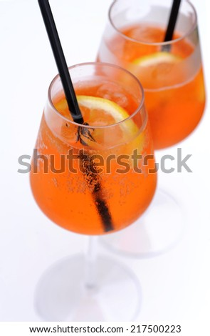 aperol spritz at the swimming pool - stock photo