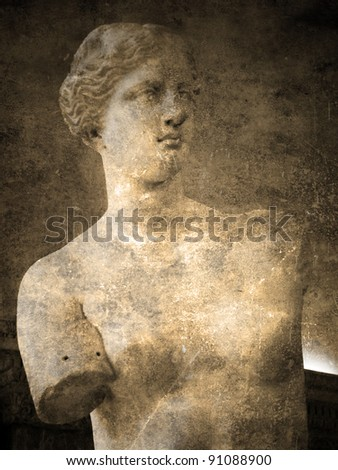 Aphrodite Of Milos. Vintage and faded postcard - stock photo