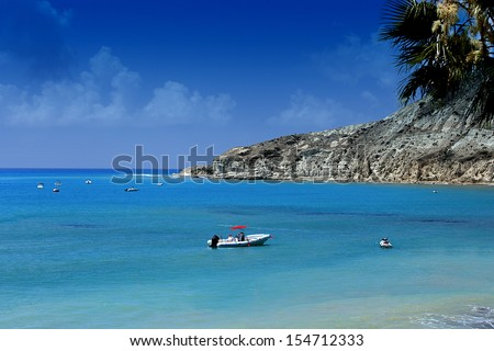 Aphrodite's rock and beach in Cyprus  - stock photo