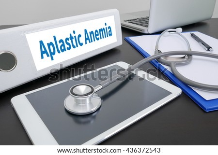 Aplastic Anemia folder on Desktop on table.  - stock photo