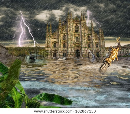apocalypse in Milan - stock photo