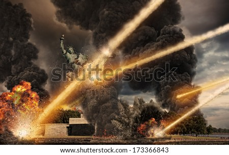 Apocalypse over statue of liberty - stock photo