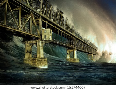 Apocalyptic background - giant tsunami waves - stock photo