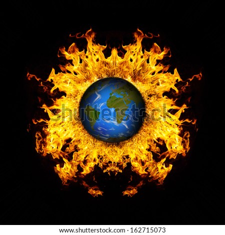 Apocalyptic background - planet Earth exploding, armageddon illustration, end of time. - stock photo
