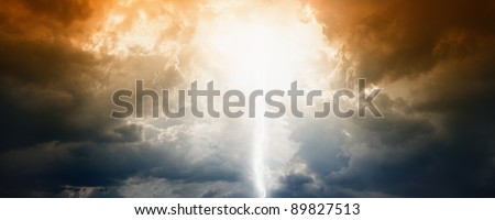 Apocalyptic background - sun, lightning and clouds in dramatic dark sky. End of time. Bible armageddon. - stock photo
