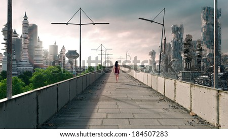 Apocalyptic concept background of futuristic and destroyed city - stock photo