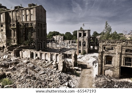 apocalyptic industrial landscape - stock photo