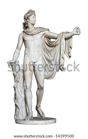 Apollo Belvedere statue isolated on white. This sculpture is marble copy of lost bronze original made by Greek sculptor Leochares.  Exposed in Vatican Museum, Rome, Italy. - stock photo