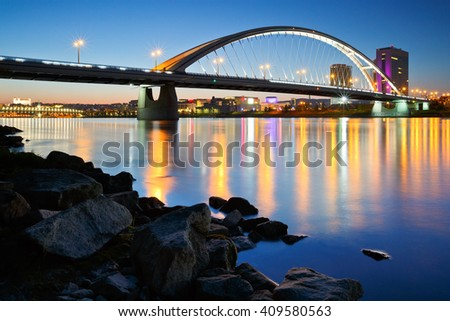 Apollo bridge over river Danube in Bratislava, Slovakia. - stock photo