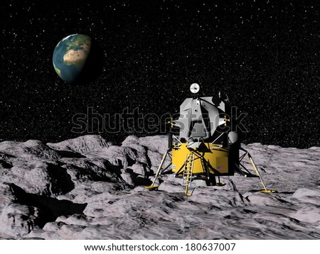 Apollo on moon surface, earth in the background - Elements of this image furnished by NASA - stock photo