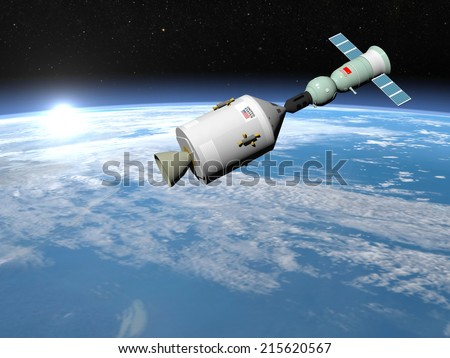 Apollo-Soyuz test project with experimental joint flight of the Soviet spaceship Soyuz-19 and the American spaceship Apollo, elements of this image furnished by NASA - 3D render - stock photo