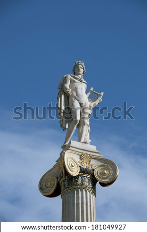 Apollo statue in the Academy of Athens  - stock photo