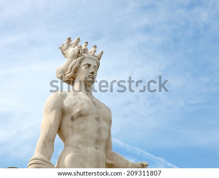Apollo statue, is the main composition of the fountain du Soleil, on the Place Massena in Nice, France. - stock photo