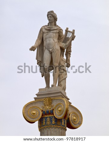 Apollo statue, the god of music and poetry - stock photo