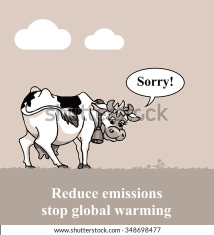 Apologetic cow relating to global warming emissions - stock photo