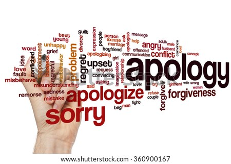 Apology word cloud - stock photo