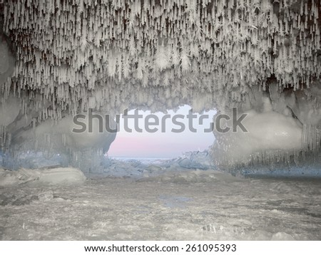 Apostle Island Ice Cave at dusk on the shore of Lake Superior   - stock photo