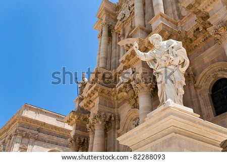Apostle statue in Cathedral in Syracuse, Sicily - stock photo