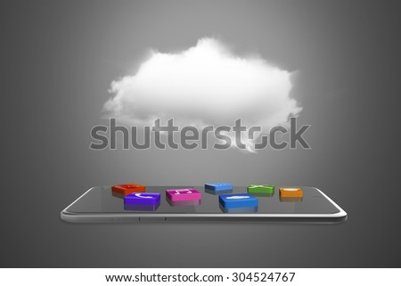 App blocks on smart tablet with white cloud. - stock photo