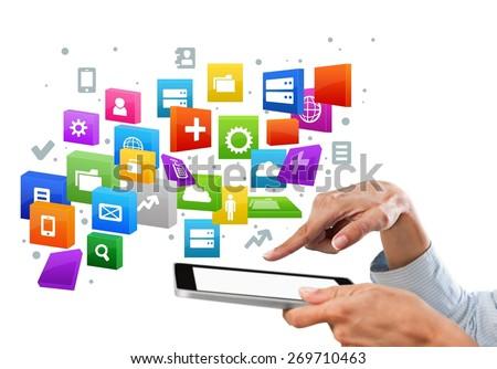 App, data, phone. - stock photo
