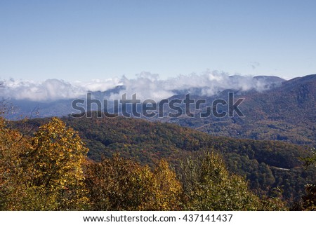 Appalachian Mountains in October during the Fall - stock photo