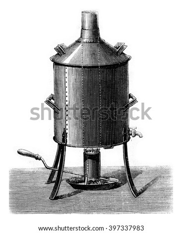 Apparatus for making beer, vintage engraved illustration. Magasin Pittoresque 1873. - stock photo