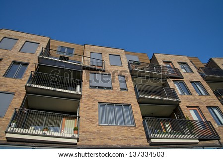 appartment building detail in the Netherlands - stock photo