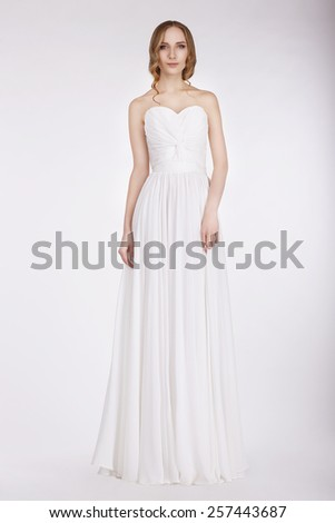Appealing Young Bride in Wedding Dress - stock photo